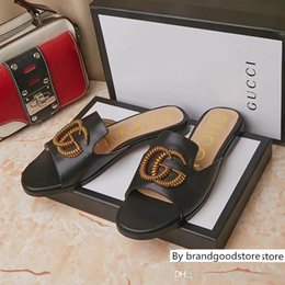 pantofole bianche signore Sconti Nuove donne di arrivo G Ace Designer in pelle Pantofole Nero Bianco Rosso signora Sandals Dress Slipper Infradito Con