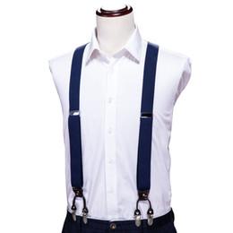 Salut-cravate bleu solide vêtements bretelles bretelles clip-on élastique en forme de Y jarretelles réglables tirantes bretelles unisexe ? partir de fabricateur