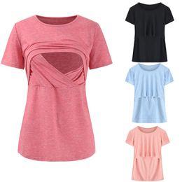 Alimentation supérieure en Ligne-T-shirts d'allaitement d'été T-shirts de maternité T-shirts d'allaitement T-shirts à manches courtes T-shirts Alimentation pour la grossesse Gravidas Vêtements de grossesse