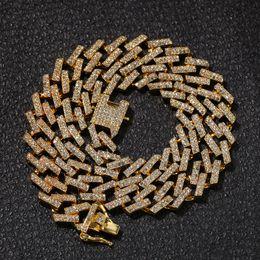 2019 tendência de colar de corrente Hip Hop Bling Correntes Jóias Homens Iced Out Chains Colar de Prata de Ouro Preto Azul Diamante Miami Correntes da Ligação Cubana