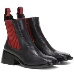 Fundas de cuero para botas online-2019 otoño y el invierno Europa y América muestran la nueva manera de costura de cuero calcetines elásticos gruesas botas con botas finas de manga cabeza cuadrada Ma