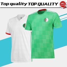 2019 camisas uniformes brancas Argélia casa branco longe verde Futebol Jersey 2018 Argélia casa branco futebol camisa 2018 fora verde Futebol uniformes camisas uniformes brancas barato