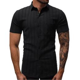 2019 мужская одежда Shirt Men Short  Sleeve Striped Shirt Summer MenS Dress Shirts Fashion British Style Male 1317YXWV дешево мужская одежда