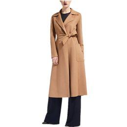 Abrigo de camello de cachemir de las mujeres online-2019 Primavera Invierno Señoras Camel Negro Gris Cachemira Look Maxi largo Diseño Bata con cinturón Abrigo de mujer de alta calidad