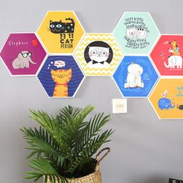 Décor de chambre de chat en Ligne-Chambre Décor Stickers Muraux Chat Éléphant Autohésion Hexagone Coloré 3D Dortoir Salon Anti-Poussière Durable Murs Autocollant 7qrD1