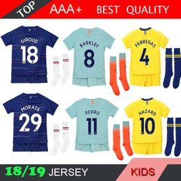 HAZARD MORATA kids home away 3rd 2018 2019 soccer Jersey Kit PEDRO FABREGAS 18  19 KANTE WILLIAN child youth Football Shirt 955220444