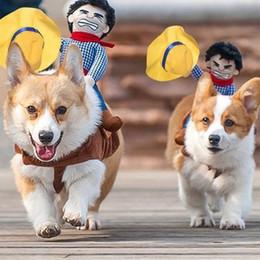 ternos engraçados do cão Desconto 1 Pcs Roupas Para Cachorro São Personalidade Engraçada Equitação Equitação Pet Dog Clothing Pet Suit Estilo Denim Cavaleiro Roupas Ap11081050 Y19061901