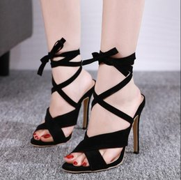 Sandali giapponesi alti gladiatori online-2019 new Roman Cross-Strap Shoes Women Sandals Sexy Gladiator Lace Up Open Toe Sandals Thin High Heels Woman Ankle Shoes size US 4-9