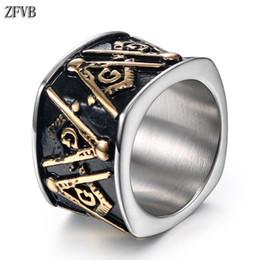 anello massonico oro Sconti ZFVB Anello da massone vintage Uomo Donna Bling Anelli con sigillo massonico color oro Anello Regalo per gioielli con ciondoli in acciaio inossidabile