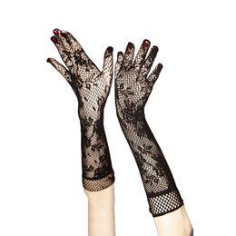 Damen Mädchen Prom Hen Fancy Lace Elbow Länge Elegante Burlesque Handschuhe French Maid Netzstrümpfe old up Lace Top Satinschleife von Fabrikanten