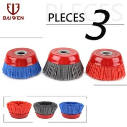 3Pcs 30mm Abrasive Wire Nylon Cup Brush Rotary Polishing Tool 80//120//240 Grit