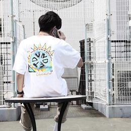 Camisetas pintadas a mano online-19SS TRIBAL S / S TEE Japan Limited Cilindro pintado a mano Camiseta Moda Casual Camiseta Hombre Mujer Pareja Negro Blanco de manga corta HFSSTX109