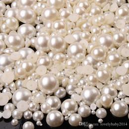2019 contenitore glitter all'ingrosso Misto 2mm 3mm 4mm crema bianco puro mezzo giro resina fai da te Flatback Nail Art Pearl 1 lotto = 10000 pz