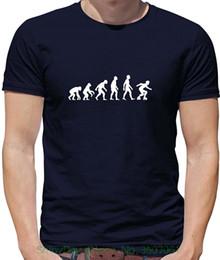 2019 xs evolution Marca de Algodão Homens Roupas Masculinas Slim Fit Camiseta Evolução Do Homem Roller Derby - Mens Crewneck T-shirt - 7 Cores desconto xs evolution