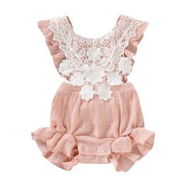 denimkleid weißer kragen Rabatt Mode Neugeborenes Baby Baumwollspitze Spielanzugoverall Outfits Sunsuit Kleidung