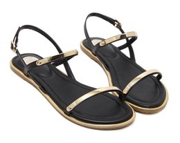 79437e30f New 2019 Women Sandals Sexy Thin Belt Metal Flat Sandals for Women Summer  Gold Sandals with Buckle Strap Sandalias Mujer Size 33 - 43