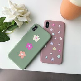 lindos celulares pequeños Rebajas Para Iphone Xr Xs Caja del teléfono Max Pequeñas flores frescas Cute 6 7 8 X Plus Frosted silicona TPU suave caja del teléfono celular