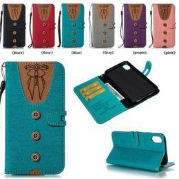 Women fabric wallets online-2019 T Shirt Wall Case Funda de tela Kickstand cubierta del tirón para hombres mujeres Bowknot corbata ropa ranura para tarjeta Csae para iPhone X SCA550