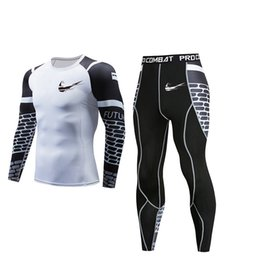men s red suits Coupons - New compression shirt men's 3D printing white T-shirt sports suit quick-drying running suit breathable jogging training gym MMA