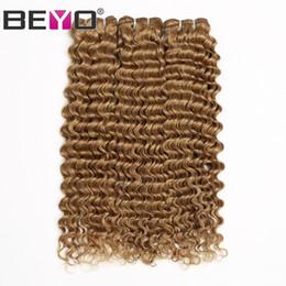 ofertas del pelo del paquete rubio Rebajas Honey Blonde Deep Wave Bundles Paquetes de cabello humano Malasio rizado 3 o 4 Bundle Deals # 27 Color Remy Hair Extension Beyo
