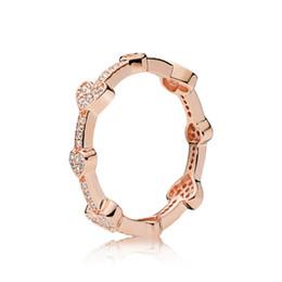 2019 anillos en forma de corazón de oro rosa Anillo de plata esterlina Pandoa 925 con forma de corazón de oro rosa y plata pura. Joyería de la boda de la mujer de las mujeres como regalo anillos en forma de corazón de oro rosa baratos