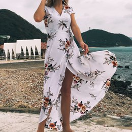 Wholesale Womens Clothes - New Summer Dresses for Womens Flower Printed Sexy Beach Split Dress V-neck Chiffon Holiday Long Dress Clothes S-2XL