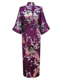 Argentina Venta al por mayor- Púrpura Moda para mujer Peacock Largo Kimono Bata de baño Vestido de camisón Yukata Albornoz Ropa de dormir cheap yukata women Suministro