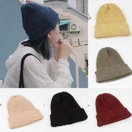 f05225798c5a Fashion Brand Newest Men s Women Beanie Knit Ski Cap Hip-Hop Blank Color  Winter Warm Unisex Wool Hat Oversized Warm Hats