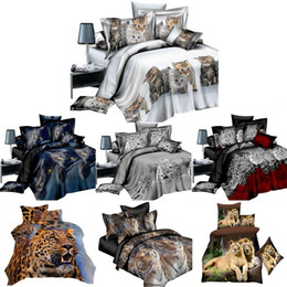 red white black quilt sets Coupons - 4PCS Bedding Set Bed Sheet 3D Animal Prints Sanding Quilt Cover 1 x Duvet Cover 1 x Flat Sheet 2 Pillow Cases 4 IN Kits