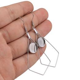 adesivo de abóbada por atacado Desconto 10pcs / lot Aço Inoxidável Brincos Cabochão Bases Configurações Brinco branco DIY 12 milímetros Geometric moldura Brinco Bandeja Jewelry Making