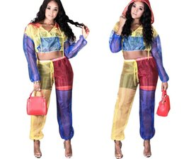 809d7081c1c Color Patchwork Sheer Mesh Women Tracksuit Front Zipper Long Sleeve Hooded  Jacket Crop Top + Pants Two Piece Set Outfits