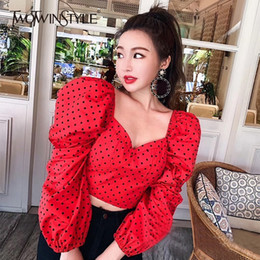 60eb4372 TWOTWINSTYLE Spring New V Neck Puff Sleeve Polka Dot Womens Shirt Blouse  Nine Sleeves Crop Tops Female 2019 Fashion Casual