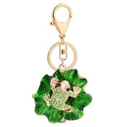 Porte-clés grenouille en Ligne-Nouveau créatif strass animal trousseau Alliage feuille de lotus grenouille porte-clés Porte-clés De Voiture Femme sac pendentif accessoires