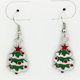 Boucles d'oreilles arbre de Noël émail vert argent poisson crochet crochet 10 paires / lot Antique bijoux de lustre en argent 42x15mm ? partir de fabricateur