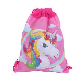 Unicorn Drawstring Bag for Girls Travel Storage Package Cartone animato scuola zaini bambini Festa di compleanno favori 5 stili regali spedizione gratuita da