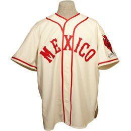 Красный номер трикотажные изделия бейсбола онлайн-Мехико Красные Дьяволы 1957 Главная Джерси 100% Сшитая Вышивка Логотипы Старинные Бейсбольные Майки Обычай Любое Имя Любое Число Бесплатная Доставка