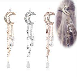 Clip de las mujeres de la Luna Rhinestone Colgante de Cristal Pin Borla Cadena Larga Perlas Horquilla Señoras Joyería Del Pelo Pinza de Pelo Envío de la gota desde fabricantes