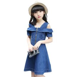 vestido de niña de blue jeans Rebajas Niñas vestidos de mezclilla para niños ropa de Jean Nueva moda Casual vestido azul de manga corta jeans Vestidos 4 6 8 10 12 años Q190522