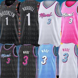 Venta al por mayor online-NCAA University 3 Dwyane Hombre Wade Jersey D'Angelo 1 Russell bordado camisetas de baloncesto Barato al por mayor S-XXL