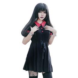 Rotes peter pankragenkleid online-Gothic Kleid Rot Peter Pan Kragen Chic Schädel Knopf A-Linie Lässige Kleidung Baumwolle Damen Kleider Doom Kleid T5190604