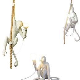 Modern Yaratıcı Reçine Beyaz Maymun Lamba Çatı Bağbozumu Kenevir Halat Kolye Işık Ev Bar Cafe için Retro Asılı Kolye lamba cheap monkey lights nereden maymun lambaları tedarikçiler