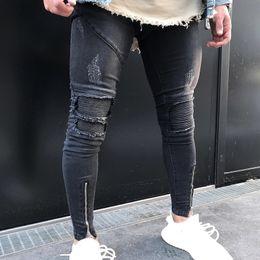 jeans hommes zips Promotion NOUVEAU 2019 Nouveau Homme Jean avec trous déchirés Jean de motard skinny noir avec plis slim fit hip hop