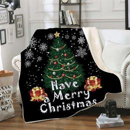 2019 coperte di natale Baby 3D Coperte di Natale Inverno Doppio strato Quadrato Fasce da letto Trapunta Pelo Coperte Albero di Natale Swaddle da viaggio TTA1639 coperte di natale economici