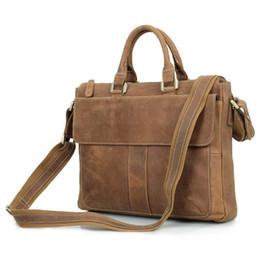 Argentina J.m.dj.m.d Bolsos de cuero genuino para hombre Laptop Messenger Bag Vintage Classic Briefcase Office Bag 7112b-1 supplier vintage leather handbag man laptop Suministro
