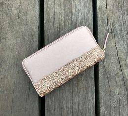 portafogli brandnew Sconti portafogli brillantini di marca lucida nuova borsa cluth con cerniera 5 colori brillanti per le donne