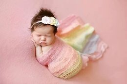 mohair crochet Coupons - Newborn photo props infant mohair headband + colourful stripe sleeping bag crochet cocoon baby props newborn photography wraps