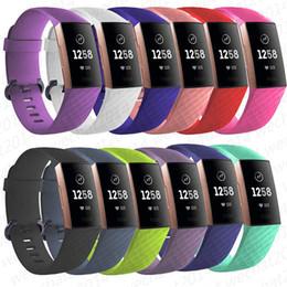 bande portative Promotion 100 PCS Montre En Silicone Bande de Montre Bracelet Fréquence Cardiaque Bracelet Intelligent Bracelet Sangle De Ceinture Pour Fitbit Charge 3 gratuit DHL
