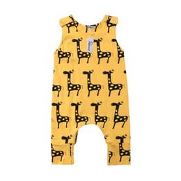 Jirafa bebe ropa niño online-Bebé recién nacido niño niña linda rompe de dibujos animados de algodón jirafa mameluco mono traje traje de sol ropa de niños ropa de bebé informal