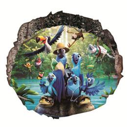 Pappagalli art online-Pappagallo Adesivi murali decorativi Decorazioni per la casa Soggiorno 3D Vivid Wall Hole Animali Poster PVC Murale Decor Wall Art