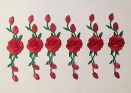 Наклейка ткани вышивки Seiko классическая мода красная роза вышитая наклейка ткани может использоваться для одежды, обуви, сумок и т. д. от